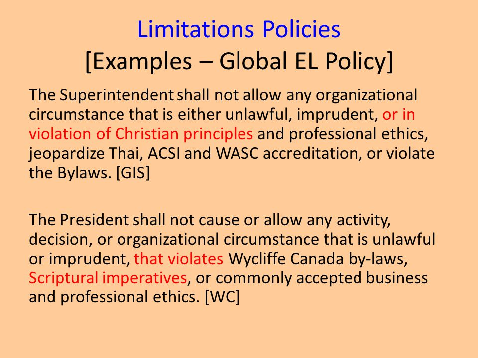 Limitations Policies [Examples – Global EL Policy]
